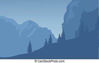 nuit, falaise, silhouette