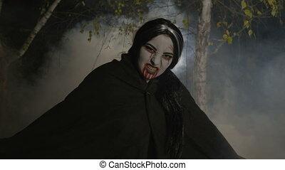 nuit, forêt, maléfique, sortir, vampire, femme, clair lune, zombi, brumeux, halloween, célébrer