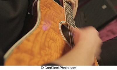 nuit, gros plan, jouer, club, classique, guitare