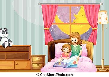 nuit, histoire heure coucher, dire, mère