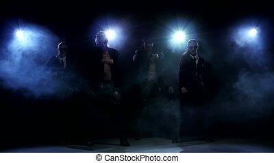 nuit, hommes, fort, dancer:, club, strip-tease, femme, silhouette