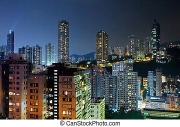 nuit, hong kong, bâtiments, bondé