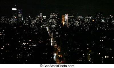 nuit, horizon, ville, york, nouveau