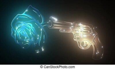nuit, incandescent, club, revolver., néon, tireur, pistolets, signe., arme, sombre, effet, ou, traversé, arrière-plan., fusil, concept., barre, paire