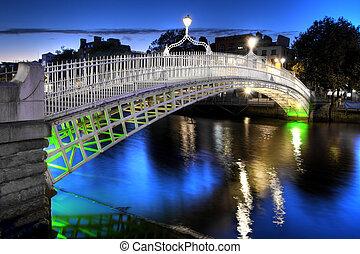 nuit, irlande, ha'penny, dublin, pont
