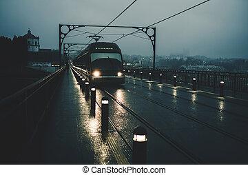 nuit, luis, fer, trains, vue, dom, pont, portugal., métro, porto