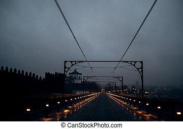 nuit, luis, pistes, ferroviaire, vue, dom, pont, portugal., porto