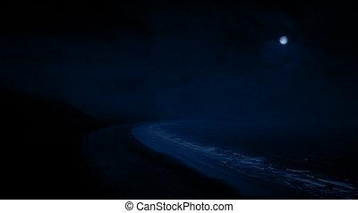 nuit, lune, côtier, secteur