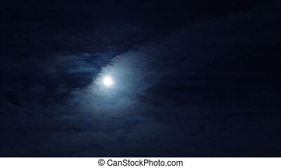 nuit, lune, ciel nuageux, entiers, sombre