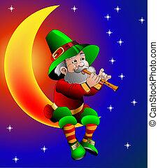 nuit, lune, jeux, séance, magicien, flûte
