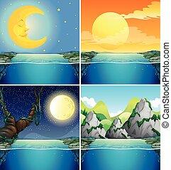 nuit, lune, scènes, nature