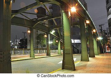 nuit, métallique, pont