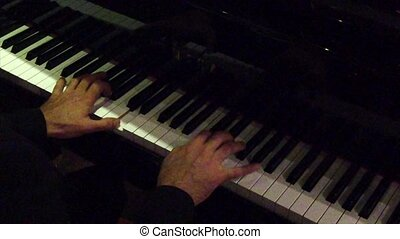 nuit, -, mains, ralenti, piano, club, jouer