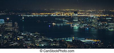 nuit, manhattan, ville, york, nouveau