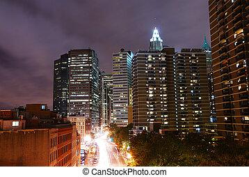 nuit, manhattan, vue, ville, york, nouveau