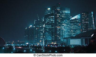 nuit, moderne, ville