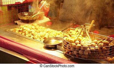 nuit, nourriture, lehua, marché rue