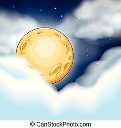 nuit, nuages, scène, lune