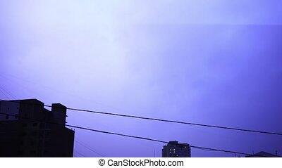 nuit, nuages, ville, lumière, flash, ciel, orage, éclair, clair, pluie