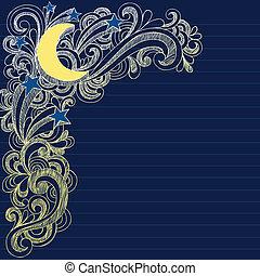 nuit, page, ciel lune, étoiles, doodles