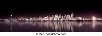 nuit, panoramique, pourpre, seattle
