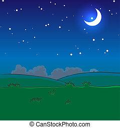 nuit, paysage, étoiles, lune