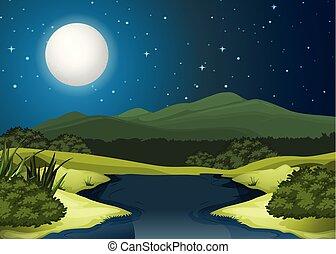 nuit, paysage, rivière