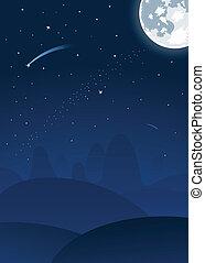 nuit, paysage, vecteur, lune