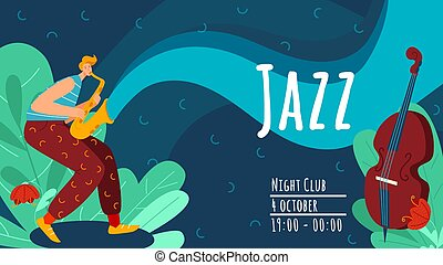 nuit, performance, jouer, concert., annonce, jazz, alto, aviateur, caractère, musicien, plat, musique, illustration., trompette, club, mâle, vecteur