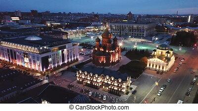 nuit, russe, tula, cathédrale, orthodoxe, administration, cityscape, transfiguration, ville, régional, église