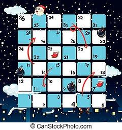nuit, santa, gabarit, boardgame