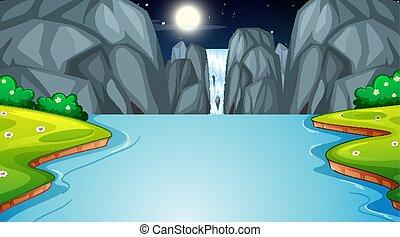 nuit, scène nature, paysage, chute eau, forêt
