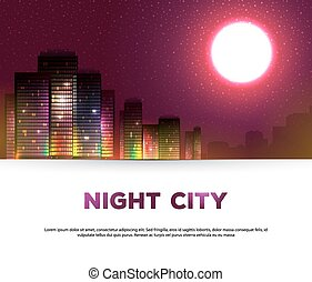 nuit, urbain, fond, ville