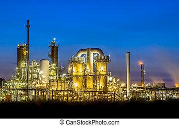 nuit, usine, chimique, industriel, scène