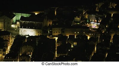 nuit, vieux, dubrovnik, panorama, ville
