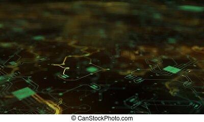 numérique, 4k, circuit, animation, vert, planche, 2