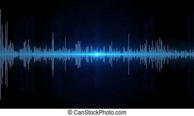 numérique, animation., 4k, ou, isolé, 3d, arrière-plan noir, son, fréquence, boucle, vague