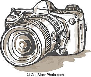 numérique, appareil-photo slr, dessin
