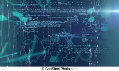 numérique, bleu, données, interface, contre, arrière-plan animation, monde médical, traitement