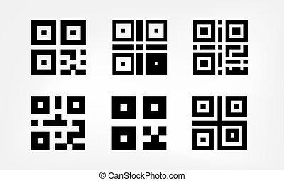 numérique, code, ensemble, qr, icônes
