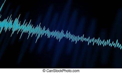 numérique, compensateur, bleu, ou, arrière-plan noir, résumé, son, audio, forme onde, boucle