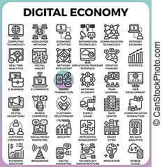 numérique, concept, économie, icônes