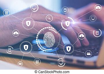 numérique, concept, vérification, homme, clavier, ordinateur portable, empreinte doigt, main, biometric, sécurité, icônes