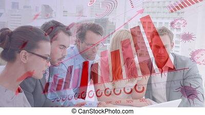 numérique, coronavirus, interface, discuter, contre, ordinateur portable, sur, businesspeople