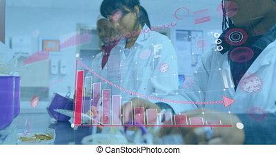 numérique, fonctionnement, scientifiques, animation, femme, interface, laboratoire, statistiques, projection