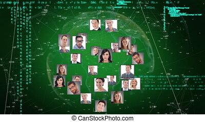 numérique, images, business, information, gens, projection, animation, interface