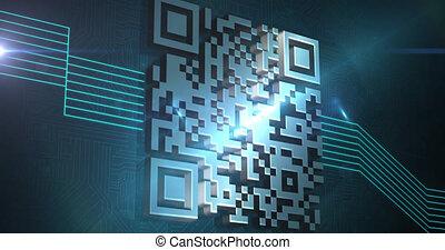 numérique, incandescent, qr, code, vert, lignes, animation