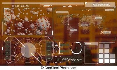numérique, interface, contre, coronavirus, bureau, vide
