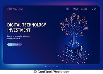 numérique, investissement, atterrissage, isométrique, technologie