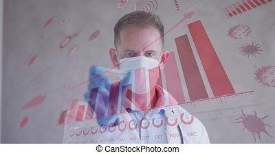 numérique, mâle, animation, statistiques, interface, tenue, masqué, docteur, vaccin, projection